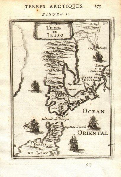 Associate Product JAPAN Terre de Yesso (Hokkaido). Sungar (Tsugaru) strait. Honshu MALLET 1683 map