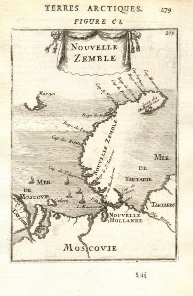 Associate Product RUSSIAN ARCTIC Nouvelle Zemble Novaya Zemlya Kara/Barents Seas. MALLET 1683 map