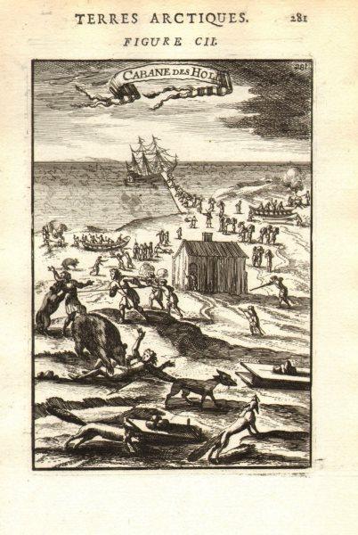 Associate Product NOVAYA ZEMLYA. Barentsz 1597 expedition attacked by wolves & bears. MALLET 1683