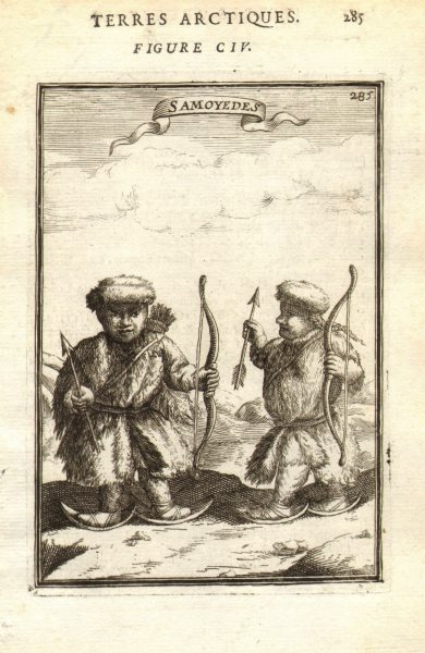 Associate Product RUSSIAN ARCTIC. 'Samoyedes'. Samoyedic people. Snow shoes. Bows. MALLET 1683