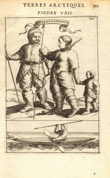 GREENLAND. 'Groenlandois'. Eskimo family 17C dress. Seal hunting. MALLET 1683