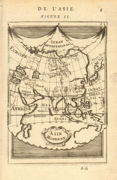 ASIA. 'Asie Moderne'. India China Japan Arabia Persia (Iran). MALLET 1683 map