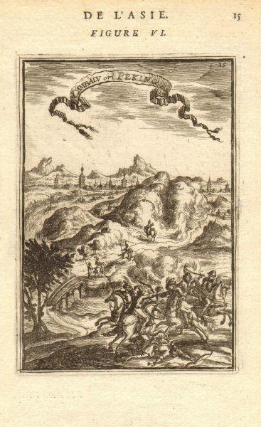 Associate Product PEKING BEIJING. View of 'Cambalu ou Peking'. 北京. China. Cavalry. MALLET 1683