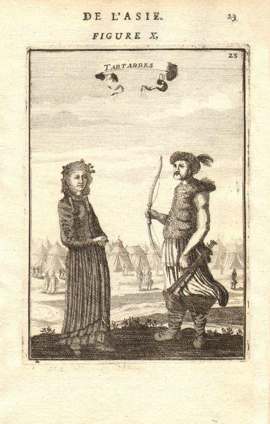 Associate Product CENTRAL ASIA. Tartar warrior & woman. Tents Sword Bow 'Tartarres'. MALLET 1683