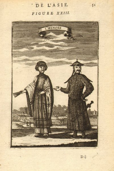 Associate Product CHINA COSTUME. Chinese man & lady in 17th Century dress. 'Chinois'. MALLET 1683