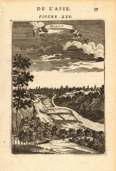 KYOTO. View of the city of Miyako (Kyoto) 京都市. Japan. MALLET 1683 old print