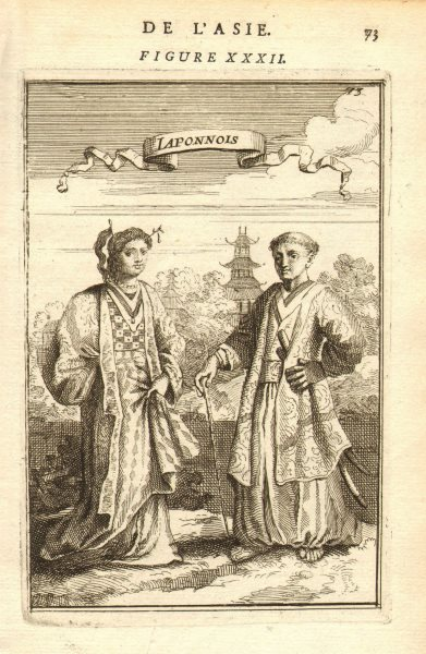 Associate Product JAPAN COSTUME. Man & woman in 17C dress. Sumarai sword Katana. MALLET 1683