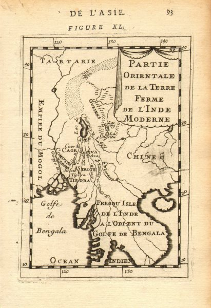 Associate Product INDOCHINA/BENGAL RIVERS. Burma Siam Vietnam. Mythical Lake Chiamay.  1683 map