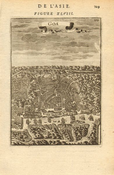 Associate Product INDIA. Bird's eye view of Goa. Map. Ships. Decorative. MALLET 1683 old