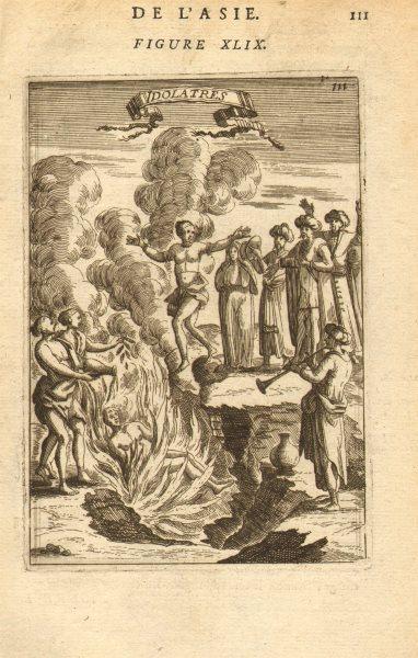 Associate Product INDIA. Hindu cremation. Funeral pyre. Guru levitating. 'Idolatres'. MALLET 1683