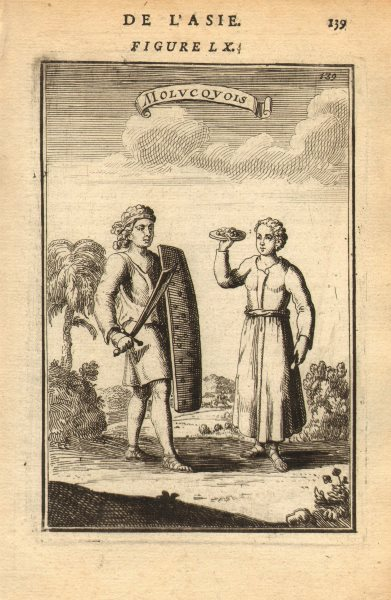 Associate Product EAST INDIES. Warrior & woman of the Moluccas Maluku. 'Molucquois'. MALLET 1683