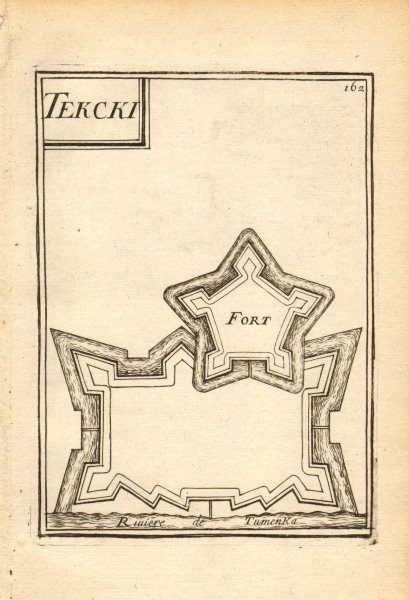 Associate Product RUSSIAN CAUCASUS. Fort Terki, Tumenka river (Terek). Razed 1763. MALLET 1683 map