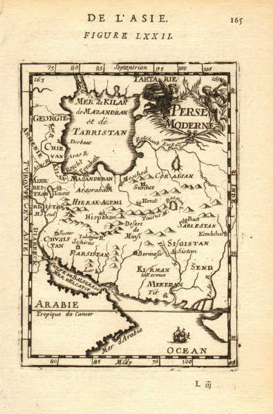 Associate Product PERSIA (IRAN). 'Perse Moderne'. Iran. ایران Towns & rivers. MALLET 1683 map