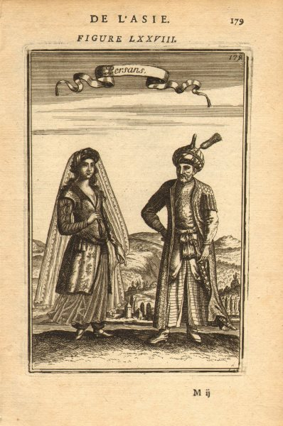 Associate Product PERSIA (IRAN) COSTUME. Persian man & woman in 17C dress. 'Persans'. MALLET 1683