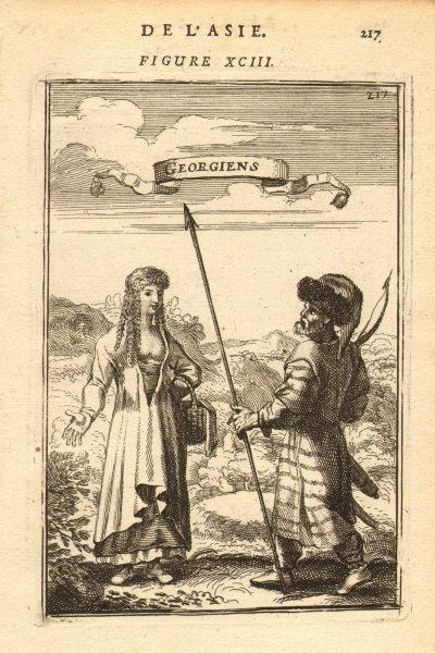 Associate Product GEORGIAN COSTUME. 'Georgiens'. Man & woman in 17th century dress. MALLET 1683