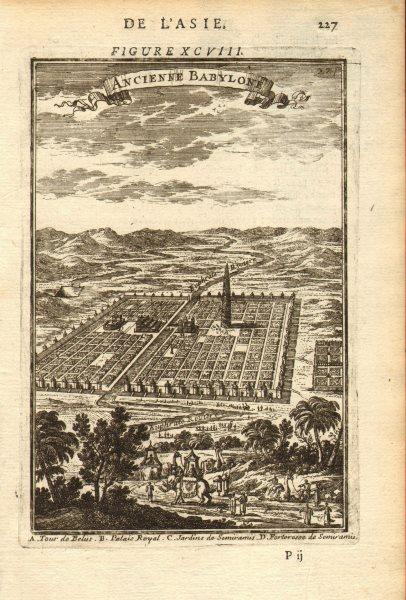 Associate Product BABYLON. shows Tower of Belus (Babel). Hanging Gardens. Semiramis. MALLET 1683