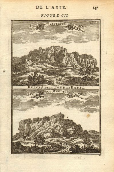 Associate Product TOWER OF BABEL. Ruins from the north & south. Mesopotamia. Babylon. MALLET 1683