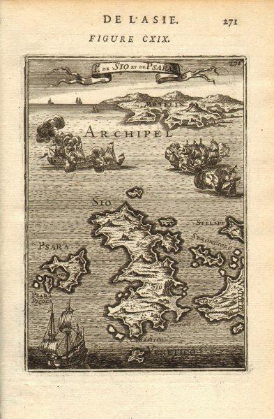 Associate Product AEGEAN ISLANDS. Sio (Chios) Pasara (Psara) & Mitylene (Lesbos). MALLET 1683 map