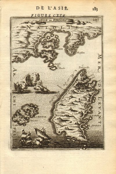 Associate Product DODECANESE. Rhodes Limonia (Alimia) Symi Carchi (Chalki). MALLET 1683 old map