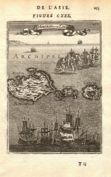 Associate Product CYCLADES. Amorgos, Zinara (Kinaros) & Levitha. Aegean. Greece. MALLET 1683 map
