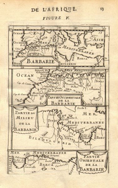 Associate Product NORTH AFRICA. Barbary. Morocco Tunisia Libya Egypt. 'Barbarie'. MALLET 1683 map