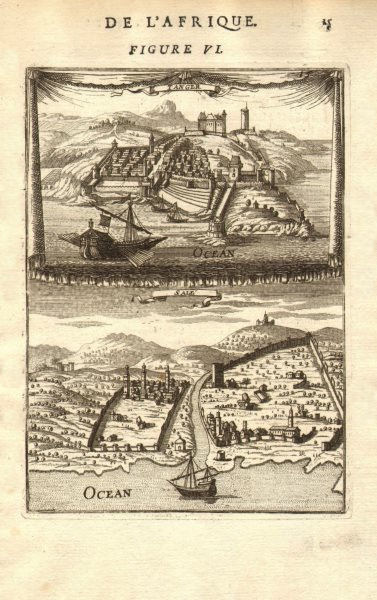 Associate Product MOROCCO. Views of Tangiers (Tanger) & Salé (Sala/Rabat). MALLET 1683 old print