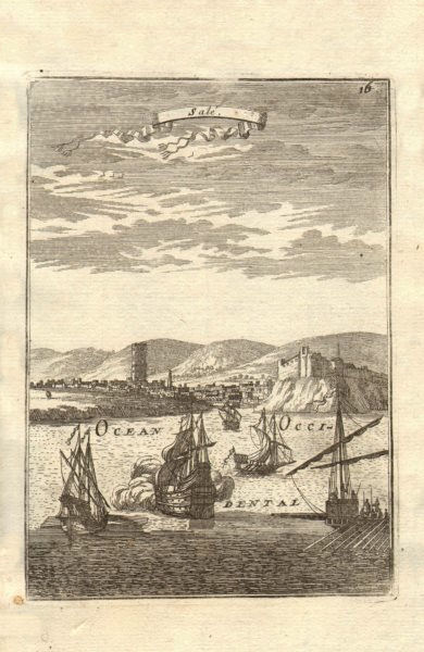 Associate Product RABAT. View of Salé (Sala/Rabat). Fortifications. Ships. Minaret. MALLET 1683