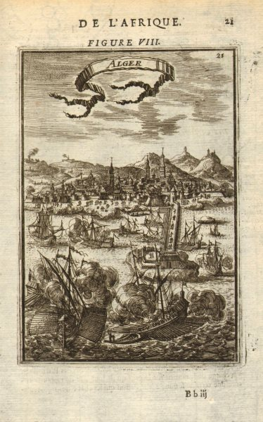 Associate Product ALGERIA. View of the town & port of Algiers (Alger). Galleys. MALLET 1683