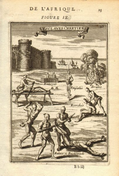 Associate Product BARBARY. Christian slaves being tortured. 'Esclaves Chretiens'. MALLET 1683
