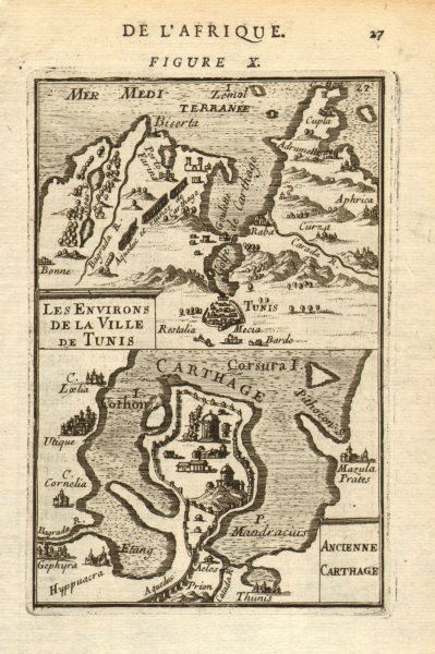 Associate Product TUNISIA. Ancient Carthage. Tunis environs. 'Ancienne Carthage'. MALLET 1683 map