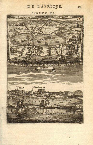 TUNISIA. View & map of 'Tunis et la Goulette'. Kasbah castle port. MALLET 1683
