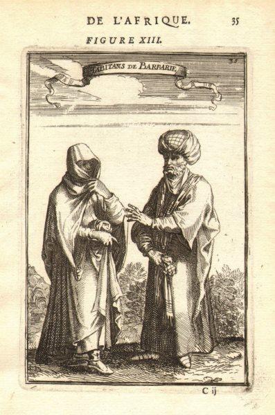 Associate Product NORTH AFRICA COSTUME. Arab/Berber man & woman in 17C dress. Barbary. MALLET 1683