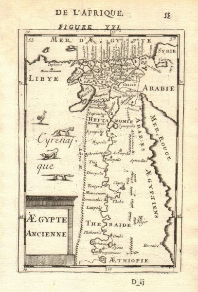 Associate Product ANCIENT EGYPT. Nile valley. Shows towns. 'Aegypte Ancienne'. MALLET 1683 map