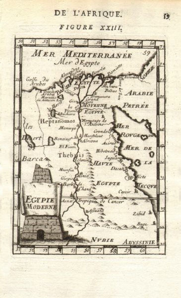 EGYPT. Nile valley showing towns & cities. 'Aegypte Moderne'. MALLET 1683 map