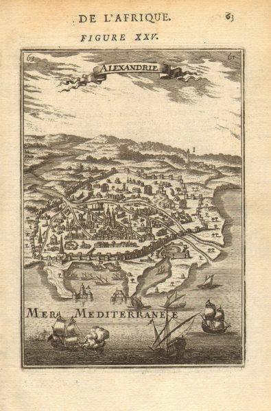 Associate Product ALEXANDRIA city plan. Port fortifications ships Egypt. 'Alexandrie'. MALLET 1683