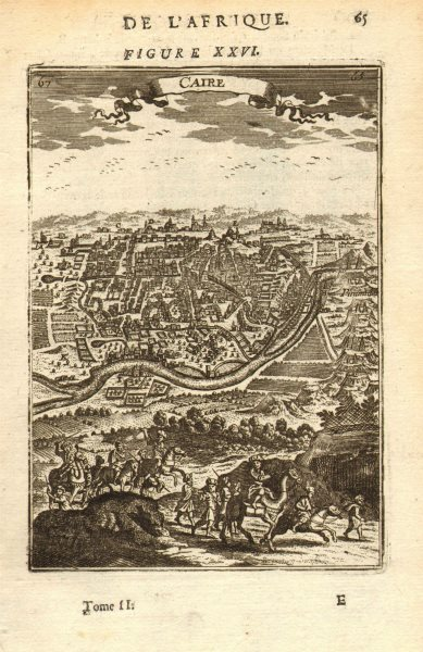 Associate Product CAIRO. City view/plan with Nile, pyramids & camels. 'Caire'. Egypt. MALLET 1683