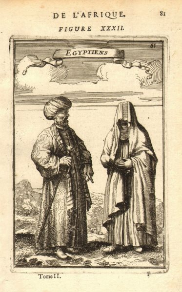 Associate Product EGYPT COSTUME. Egyptian man & woman in 17C dress. 'Egyptiens'. MALLET 1683
