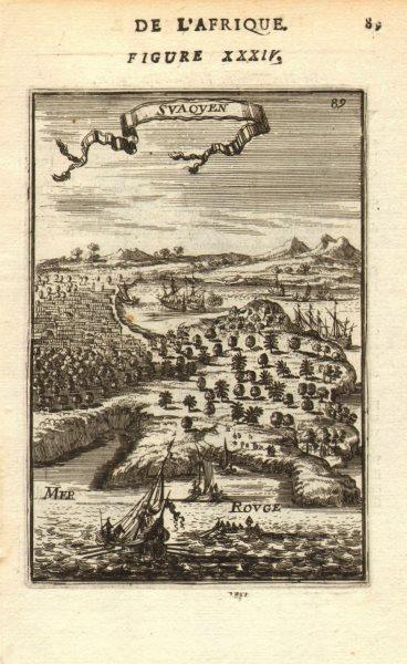 Associate Product Port of SUAKIN or Sawakin, Sudan. 'Suaquen'. Red Sea. Boats. MALLET 1683 print