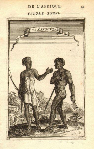 Associate Product EAST AFRICA. People of 'Zanguebar' (Zanzibar coast). Tanzania. MALLET 1683