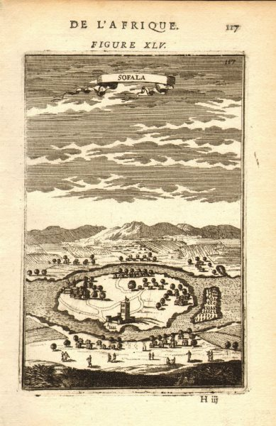 Associate Product MOZAMBIQUE. Decorative Plan/view of the seaport of Sofala. MALLET 1683 print