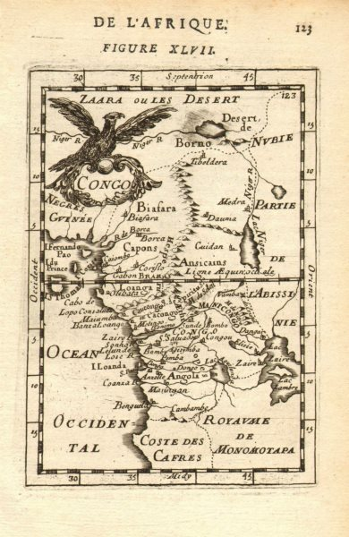 WEST CENTRAL AFRICA. Congo Angola Gabon Cameroon Sao Tome. MALLET 1683 old map