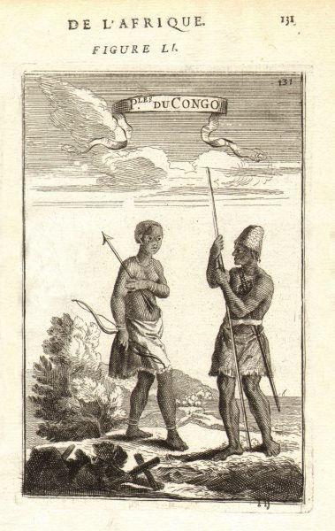 Associate Product CONGO COSTUME. Man & woman of Kongo. 'Peuples du Congo'. MALLET 1683 old print