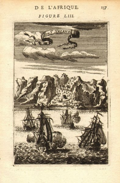 Associate Product ST HELENA. Showing Jamestown & St James valley & Church. MALLET 1683 old print