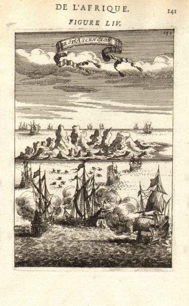 Associate Product ASCENSION ISLAND. 'Isle d'Ascencion'. Ships. Decorative. MALLET 1683 old print