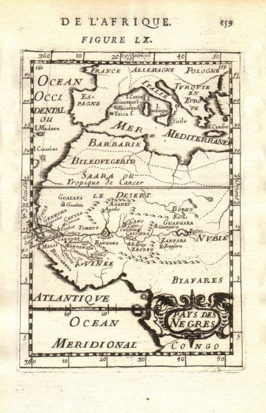 Associate Product WEST AFRICA Niger/Gambia rivers tribes towns. 'Pays des Negres'. MALLET 1683 map