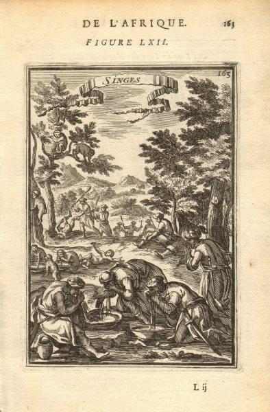Associate Product WEST AFRICA. Monkeys'Singes. Natives preparing food. MALLET 1683 old print