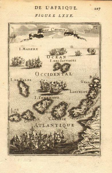 Associate Product CANARY ISLANDS. Islas Canarias Tenerife Gran C Lanzarote. Spain. MALLET 1683 map