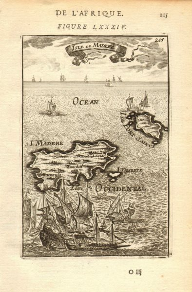 Associate Product MADEIRA/PORTO SANTO. 'Isle de Madere'. Funchal Portugal islands. MALLET 1683 map