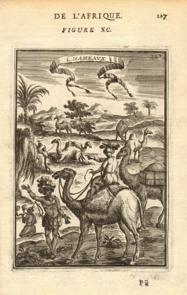 Associate Product CAMELS. Riding camels. 'Chameaux'. Nubia. Sudan. Egypt. MALLET 1683 old print