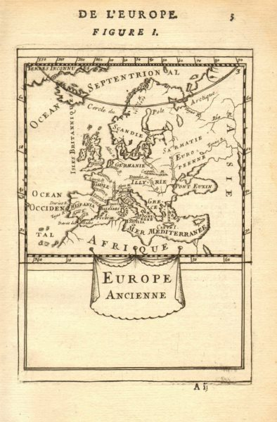 Associate Product ANCIENT EUROPE. Rivers. Latin/Roman names. Decorative. MALLET 1683 old map